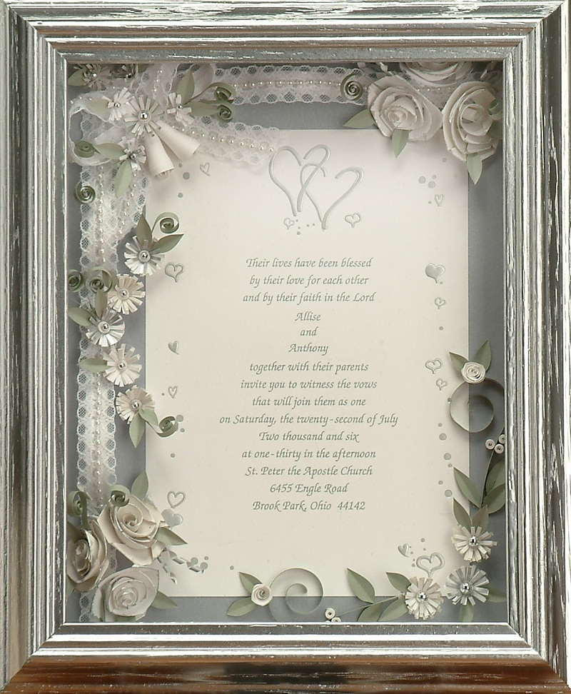 Wedding gifts, anniversary gifts, a framed invitation